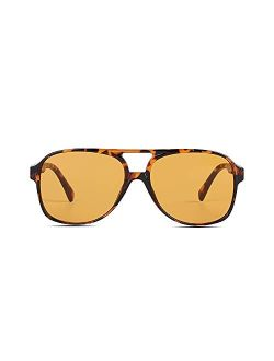 Vintage Retro 70s Sunglasses for Women Classic Large Squared Aviator Frame