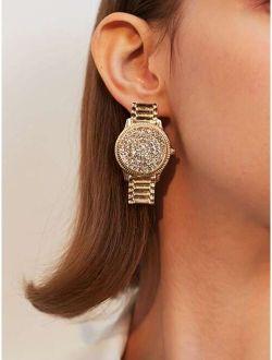 Rhinestone Decor Watch Drop Earrings 1pair