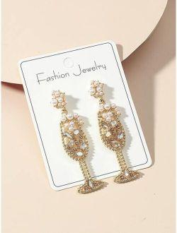 Faux Pearl Decor Wine Glass Drop Earrings