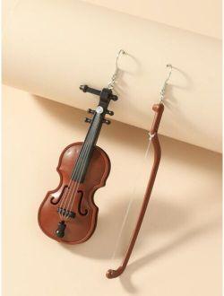 Violin Charm Drop Earrings