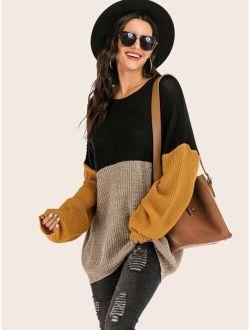 Color-block Drop Shoulder Ribbed Knit Sweater