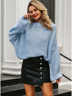 Simplee Drop Shoulder Chunky Knit Oversized Sweater