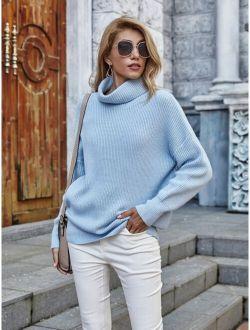Solid Rib-Knit Turtleneck Sweater