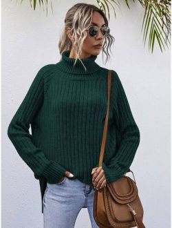 High Neck Ribbed Knit Sweater