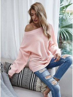 Ribbed Dolman Sleeve Boat Neck Sweater