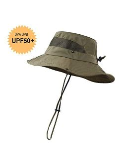 KOOLSOLY Breathable Wide Brim Boonie Hat Outdoor Waterproof UPF 50+ Sun Protection Mesh Safari Sun hat for Travel Fishing