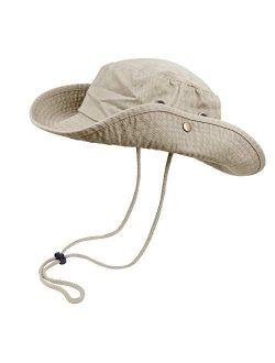 Bucket Hats with String Wide Brim Hiking Fishing UV Sun Protection Safari Unisex Boonie
