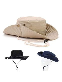 Sikuer Outdoor Safari Hat, 3 Pieces Foldable Sun Protection Boonie Hat Wide Brim Breathable Fishing Cap with Chin Strap for Men Women