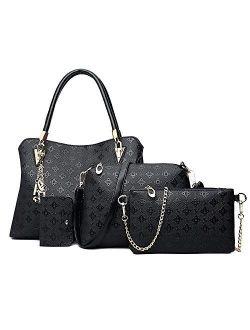 Pahajim Womens Popular Fashion Handbags PU Leather Shoulder Bag 4pcs sets Clutch Tote Purse