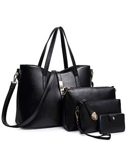 FiveloveTwo Fashion Womens 4Pcs Handbag Set Totes Clutch Satchels Top Handle Shoulder Crossbody Bags and Purse Card Holder