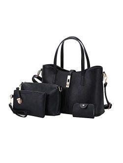 Women Handbag PU Leather Shoulder Bags Tote Bag Fashion Satchel Hobo Purse Set 4pcs