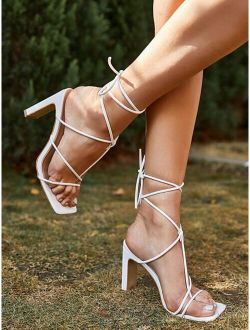 Thin Strap Chunky Heeled Thong Sandals