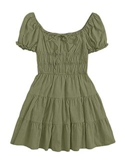Women's Short Puff Sleeve Ruched Mini A Line Dress Ruffle Tie Front Square Neck Short Dresses