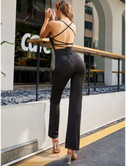 SBetro Lace Up Backless Cami Jumpsuit