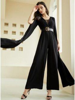 Contrast Mesh Cloak Sleeve Belted Jumpsuit