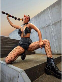 Sxy Tie Backless Studded Detail Fringe Crop Halter Top & Shorts Set