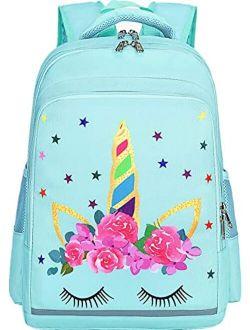 Girls Backpack for School Kids Backpack Preschool Kindergarten Elementary Bookbag (Unicorn Mint Green)