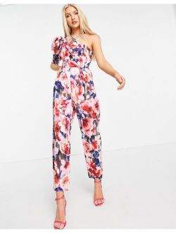 One Shoulder Puff Sleeve Jumpsuit In Floral