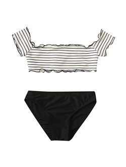 Off Shoulder Tankini Swimsuits for Girls High Waisted Two Piece Striped Bikini Top with Bottom Swimwear Bathing Suits