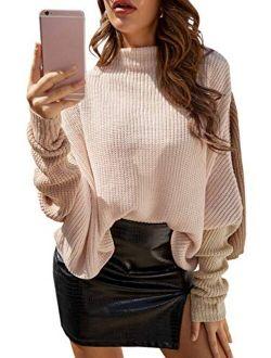 Sollinarry Women's Color Block Sweater Turtleneck Batwing Sleeve Pullover Oversized Knit Jumper