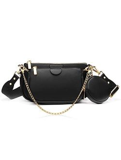 Yaluxe small Crossbody Bags with Coin Purse Women trendy Multi Golden Chain Zip Fashion