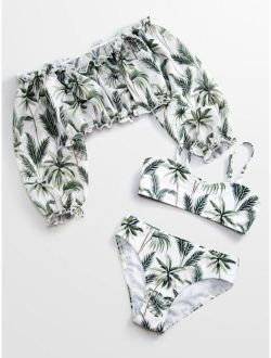 3pack Girls Tropical Frill Bikini Swimsuit & Cover Up