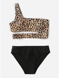 Girls Leopard Cut-out One Shoulder Bikini Swimsuit