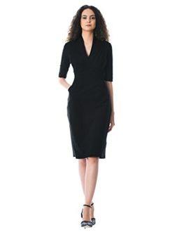 Fx Feminine Pleated Cotton Knit Sheath Dress - Customizable Neckline, Sleeve