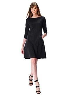 Fx Trapeze Hem Cotton Knit Shift Dress- Customizable Neckline, Sleeve & Length