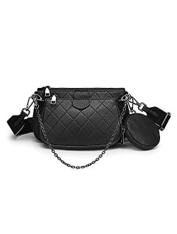 Yaluxe Multipurpose Crossbody Bag for Women Genuine Leather Multi Double Purse Zip Handbags with Coin Purse Fashion