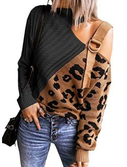 AlvaQ Womens Turtleneck Cold Shoulder Sweaters Leopard Patchwork Knitted Pullover Jumper Tops