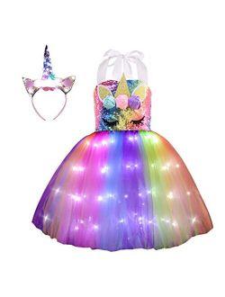 Viyorshop Girl Unicorn Costume Unicorn Tutu Dress Up Birthday Gifts LED Light Unicorn dress for Halloween Party Costumes