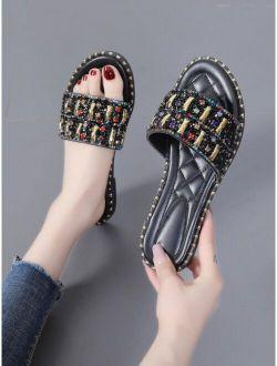 Rhinestone Decor Slide Sandals