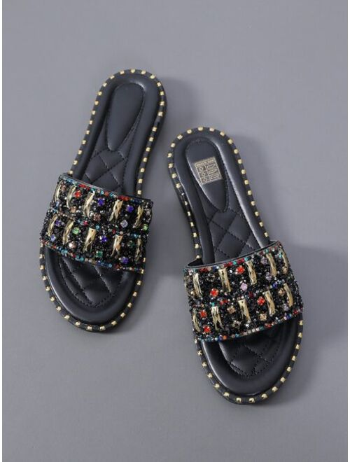 Shein Rhinestone Decor Slide Sandals
