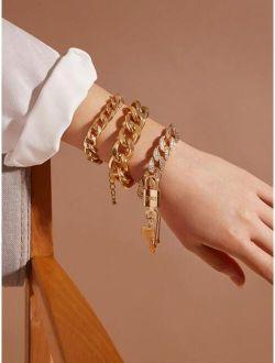 3pcs Lock & Key Charm Chain Bracelet