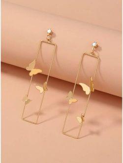 Butterfly Decor Rectangle Earrings