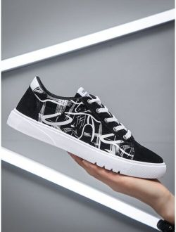 Men Graphic Lace-up Front Sneakers