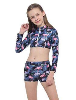 TiaoBug Kids Girls Tankini Long Sleeve Crop Top Floral Print Boyshorts Swimsuit Bathing Suit Summer Bikini