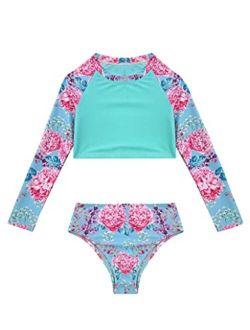 Yartina Little Big Girls 2Piece Swimsuit Sets Floral Rash Shirt Tops with Bottoms Beach Tankini Bathing Suit