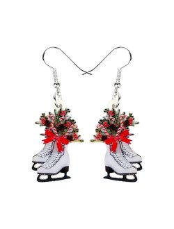 Don't AsK Red Bow Figure Skates Drop Earrings