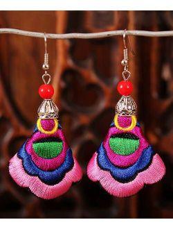 Ella & Elly Pink & Blue Beaded Embroidered Fan Drop Earrings