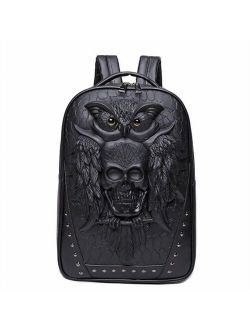 Men Backpack 3D Owl Skull Embossing Rivet Black Purse Satchel Halloween Stylish Cool PU Leather laptop Travel Soft Bags