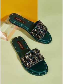 Open Toe Gemstone Decor Sliders