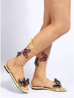 Butterfly Applique Tie Leg Sandals