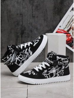 Men Lace-up Front High Top Sneakers