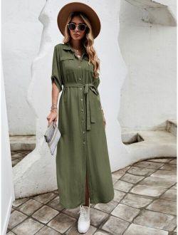 Flap Pocket Roll-up Sleeve Belted Shirt Dress