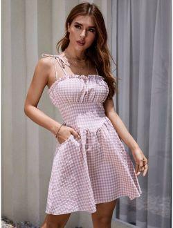 Frill Trim Knotted Shoulder Gingham Cami Dress