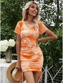 Tie Dye Drawstring Side Dress