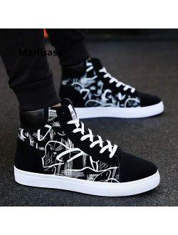 Zapatos Hombre Male Fashion Black & White Pattern Anti Skid Shoes Men