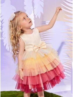 Toddler Girls Bow Front Layered Tutu Dress